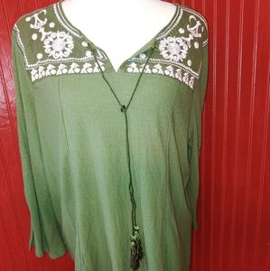 NWT Green Embroidered Tunic XL